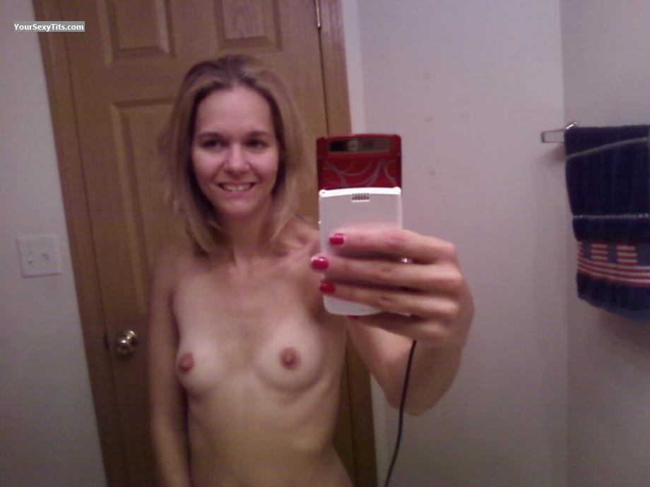 Tit Flash: My Very Small Tits (Selfie) - Topless Jessi from United States
