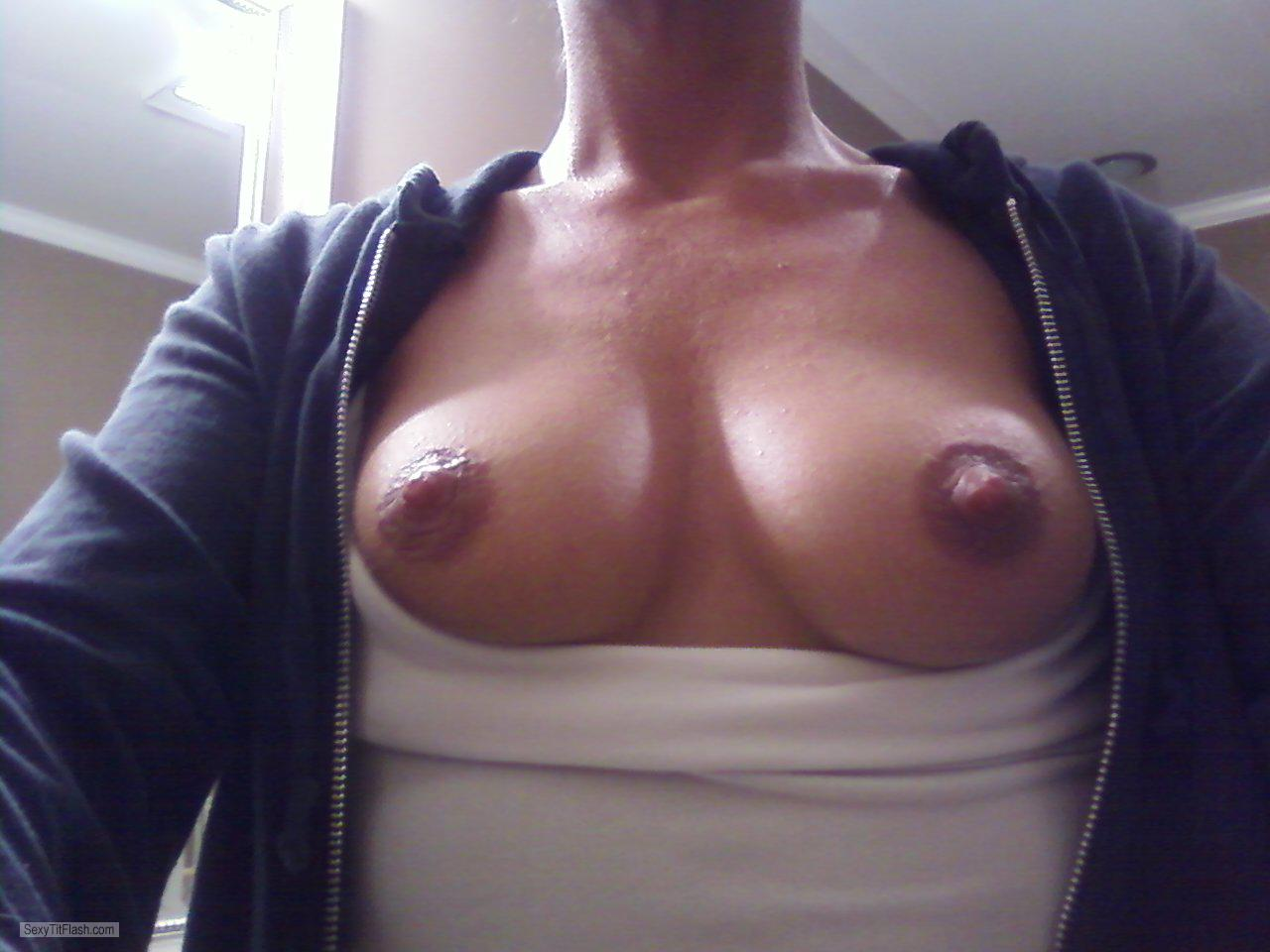 Tit Flash: Wife's Very Small Tits (Selfie) - Hotwife21 from United States