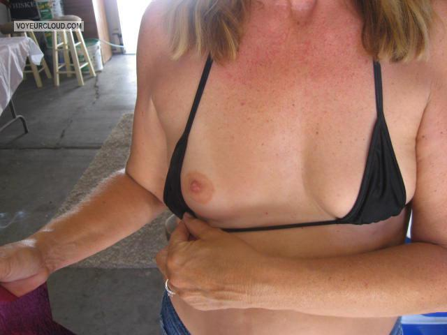 Tit Flash: Wife's Tanlined Very Small Tits - Little Buddy from United States