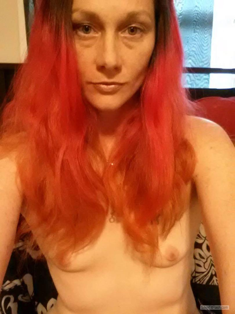 Tit Flash: My Very Small Tits (Selfie) - Topless Red Fire from United States