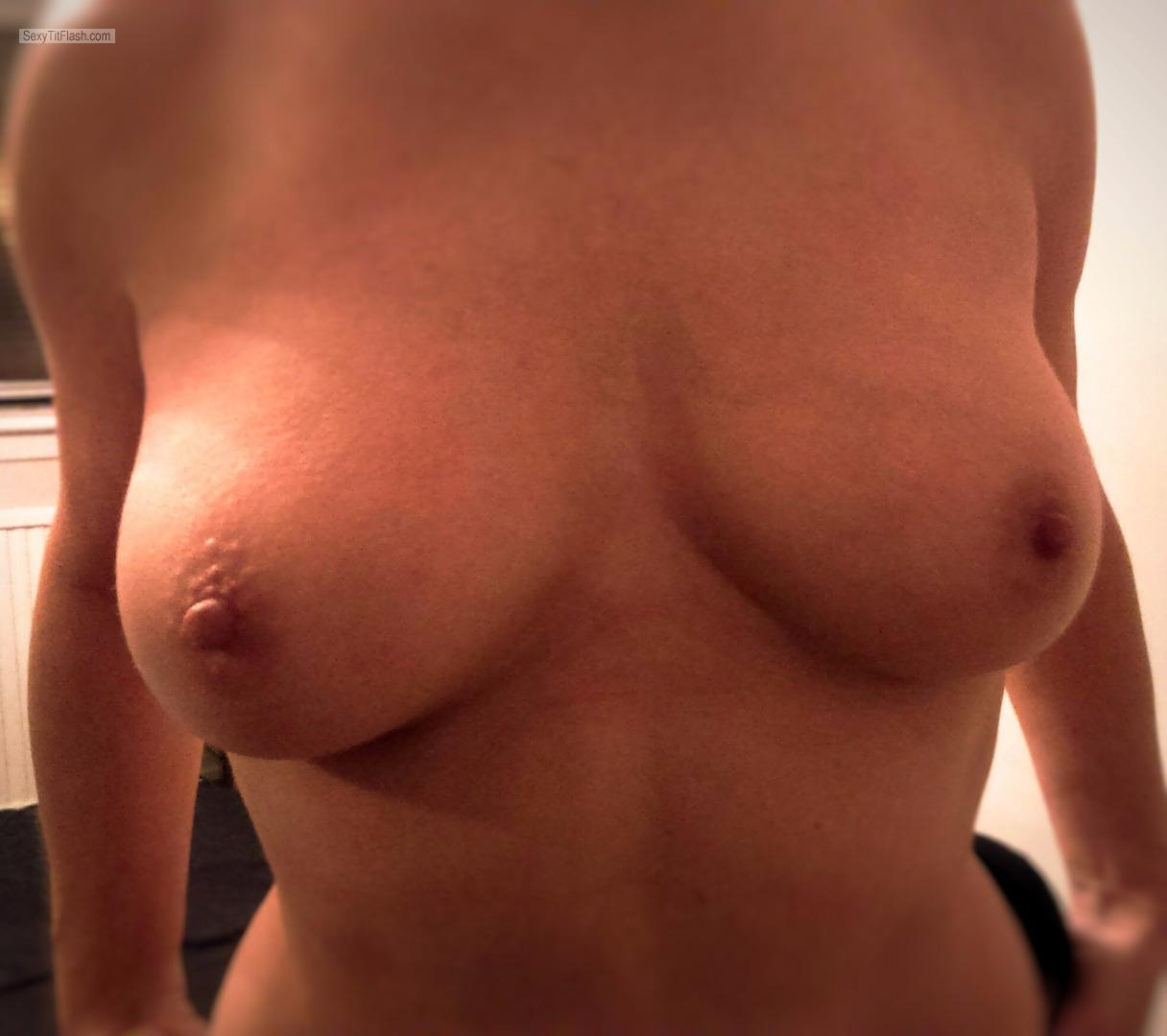 Tit Flash: My Very Small Tits (Selfie) - Blonde48 from United Kingdom